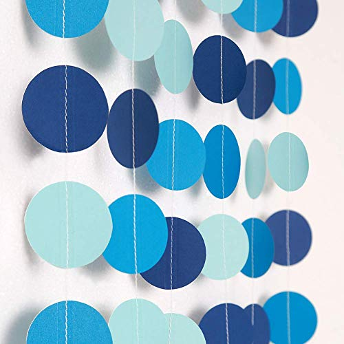 yckong Decor365 Blue Circle Dot Garland Streamer Kit Summer Under The Sea Party Decoration Pool Beach Ocean Bubble Hanging Bunting Banner Backdrop Birthday/Wedding/Baby Shower/Beach/Bool Party