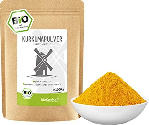 BIO Kurkuma Pulver gemahlen 1000 g / 1 kg   Kurkumapulver - Curcuma - Curcumin   100% naturrein   Rohkostqualität   aus Indien von bioKontor