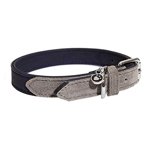 Rosewood 04105 Luxus-Hundehalsband aus weichgriffigem Leder für einen Halsumfang von 31-41 cm, marineblau