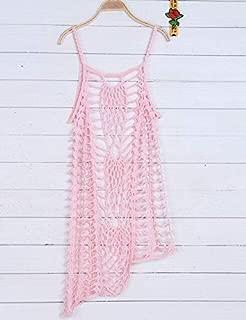 BEESCLOVER Lace Hollow Crochet Cover ups mesh Cover up Handmade Crochet Beach Dress Knitted Beach wear Bodysuit Cover ups