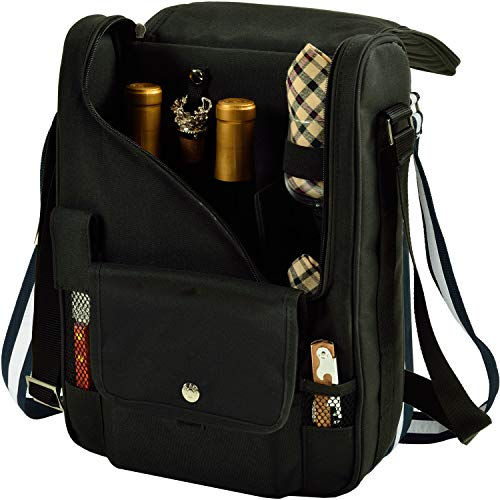 %13 OFF! Picnic at Ascot - Wine Carrier Deluxe with Glass Wine Glasses and Accessories for Two, Blac...