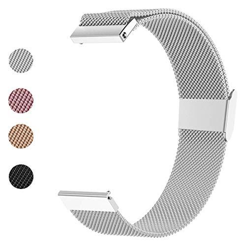 ANNYOO Armband für Samsung Galaxy Watch 42 mm, 20 mm Stegbreite Mesh Edelstahl Uhrenarmband Metall Armband für Galaxy Watch Active/Gear Sport/Garmin Vivoactive 3/3 Music (Silver)