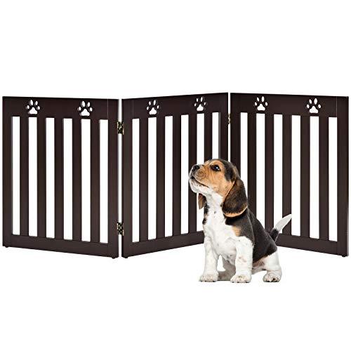 DREAMADE Faltbares Hundschutzgitter, 60 cm hoch, 3/4 Teilig Absperrgitter für Tiere und Kinder, Schutzgitter für Kamin, Ofen, Treppe, Hundegitter aus Holz (3 Teilig, braun)