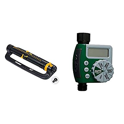 Melnor 65078-AMZ XT Turbo Oscillating Sprinkler with 3-Way Adjustment and QuickConnect Product Adapter Set, Amazon Bundle & Orbit 62061Z Single-Outlet Hose Watering Timer, 1, Green