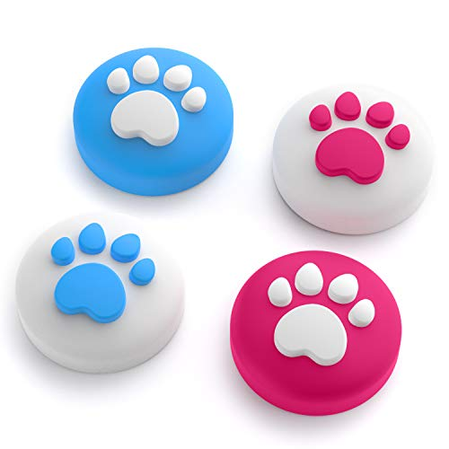 Cat Claw Design Thumb Grip Caps, Joystick Cap for Nintendo Switch & Lite, Soft Silicone Cover for Joy-Con Controller (Red & Blue)