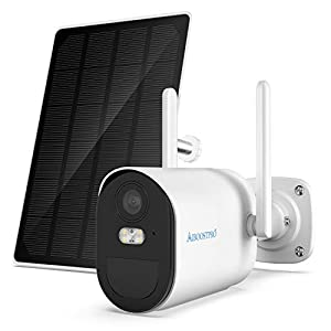 AIBOOSTPRO Solar Security Camera Outdoor Wireless 14400mAh Rechargeable Battery Powered Surveillance Camera, 1080P WiFi IP Camera PIR Motion Detection Two Way Audio CCTV Camera, Solar Panel Included…