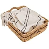 StorageWorks Hand-Woven Jumbo Storage Baskets with Wooden Handles, Water Hyacinth Wicker Baskets for Organizing, 16.9' x 13' x 6', 2-Pack