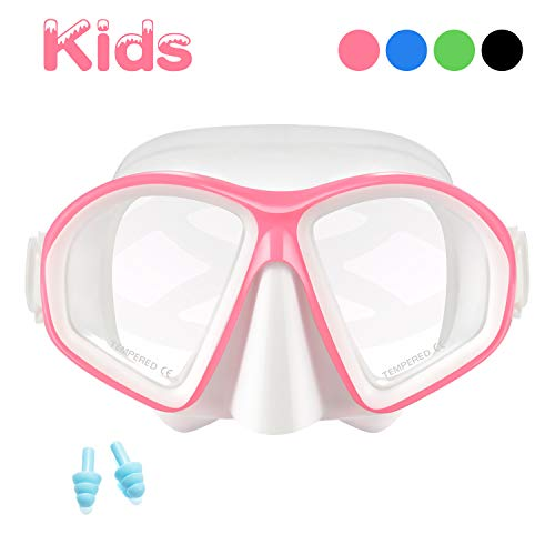 Supertrip Kids Snorkel Mask-Scuba Diving Goggles Anti-Leak Snorkeling Freediving Mask Easybreath Tempered Glass Professional Swimming Gear for Youth Boys and Girls (White Pink)