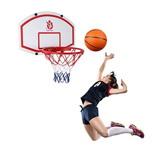 Canasta Tableros de Baloncesto Interior Aro de Baloncesto para Adolescentes Adultos, Tablero Plegable de Baloncesto para Niños Colgante con Bola y Bomba, 39cm de Diámetro del Aro
