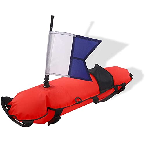 Marcador de superficie, flotador inflable para exteriores, boya de marcador de superficie de buceo con bandera de buceo para buceo, apnea, buceo en la playa, esnórquel, pesca submarina(rojo)