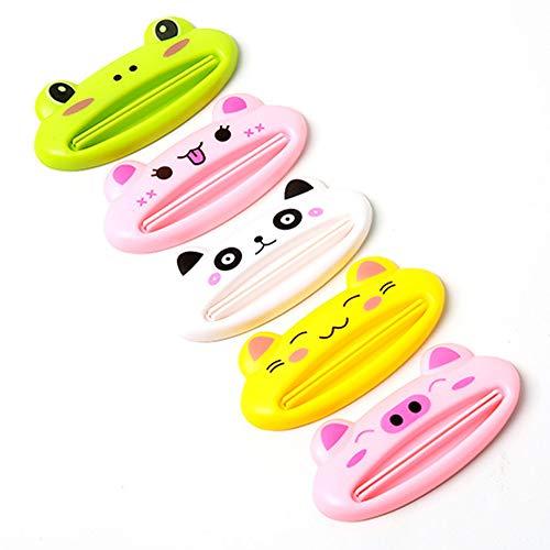 Exprimidor de Tubo de Pasta de Dientes, Dispensador de Tubo de Pasta de Dientes de Plástico de Dibujos Animados, Utilizado para Pasta de Dientes, Crema de Manos, 10 Piezas, 5 Colores