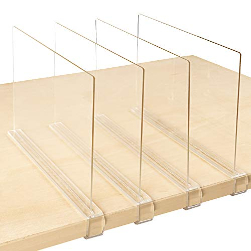 Mebbay 4 Pack Clear Acrylic Shelf Dividers for Closet, Wood Closets Shelf Separator and Organizer, for Kitchen Cabinets, Bookcases, for Home and Office, No Installation Tools Required