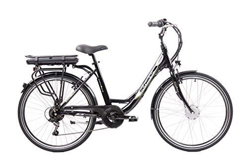F.lli Schiano E- Moon Bicicleta eléctrica, Adultos Unisex, Negra, 26