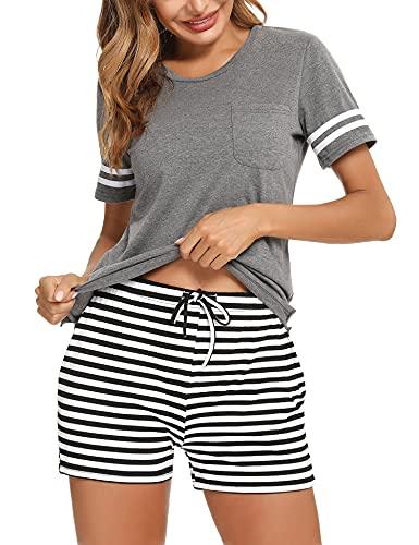 Aibrou Pijamas Mujer Verano de Manga Cortos 95% Algodón Conjunto de Pijama Mujer Dos Piezes