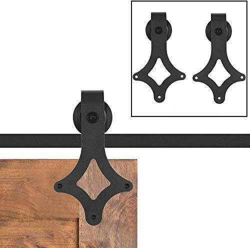 Schiebetürbeschlag Set, Schiebetür Set Schiene, Laufschienen für Schiebetürsystem (200CM/6.6FT, Diamant)