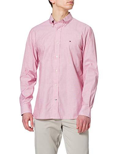 Tommy Hilfiger Natural Soft Poplin Shirt Camisa, Rojo primario, L para Hombre