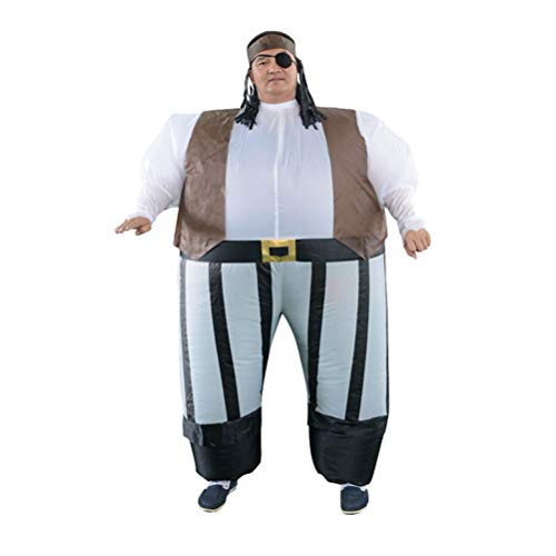 Amosfun Halloween Pirates of The Caribbean Inflatable Costumes Cosplay Pirate Costumes Carnival Halloween Costumes Party Activities Props Party Supplies