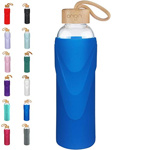 Origin Best BPA-Free Glass Water Bottle with Protective Silicone Sleeve and Bamboo Lid - Dishwasher Safe (Royal Blue, 22 oz)