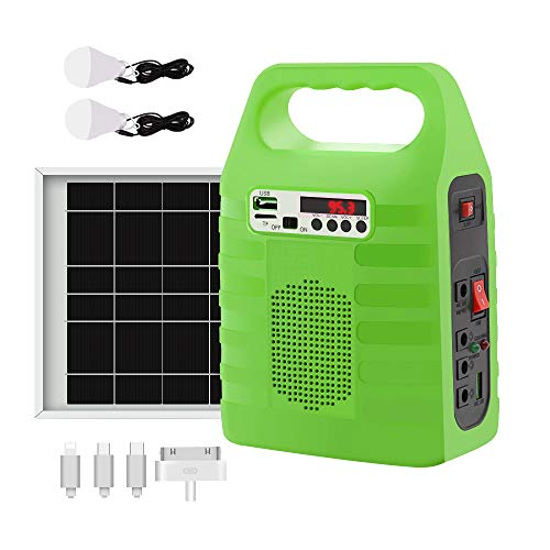 soyond Solar Generator Portable Lighting System for Emergency Power Supply, Home & Outdoor Camping,Including MP3&FM Radio, Solar Panel, 3 Sets LED Lights, Green