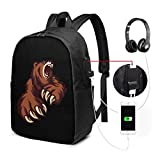 Zaino USB Bear Attack Carry On Bags Zaino per laptop da 17 pollici per scuola di viaggio Busin
