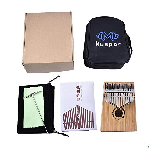 zezego Kalimba 17 Keys Thumb Piano, Bamboo Finger Piano Case Bag Weihnachten für Musikliebhaber Princess und Kinder - Burlywood (35 * 115 * 135 * 185mm)