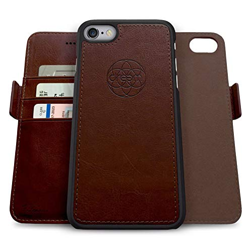 Dreem Fibonacci 2-in-1 Wallet-Case for Apple iPhone 6 & 6s - Luxury Vegan Leather, Magnetic Detachable Shockproof Phone Case, RFID Card Protection, 2-Way Flip Stand - Coffee