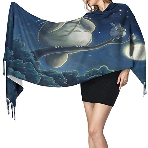 My Neighbor Totoro Anime Cute Lady â€s Long Scarf, Cashmere Shawl, Super Large and Soft, Stylish Winter Warm and Light Cashmere Scarf, Can Also Be Used As A Wall Hanging Tapestry, The Best Gift