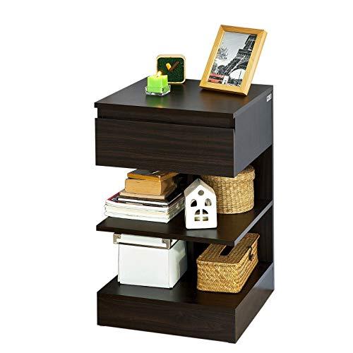 SoBuy® Mesita de Noche con 1 cajón y 2 estantes, Consola, Mesa Auxiliar para salón Comedor,FBT49-BR,ES (Marrón)