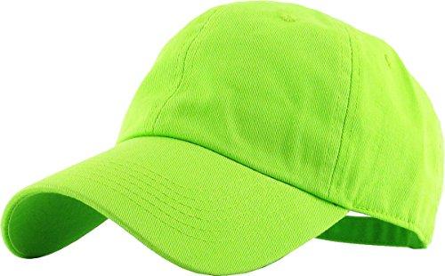KB-LOW LIM Classic Cotton Dad Hat Adjustable Plain Cap. Polo Style Low Profile (Unstructured) (Classic) Lime Adjustable