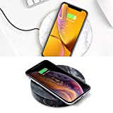 Wireless Charger Bundle by Eggtronic - 2 Count – Stone Marble Fast Wireless Chargers, Italian Designed Qi Certified for iPhone, Galaxy, Note, AirPods 2, AirPods Pro - White and Black Marble