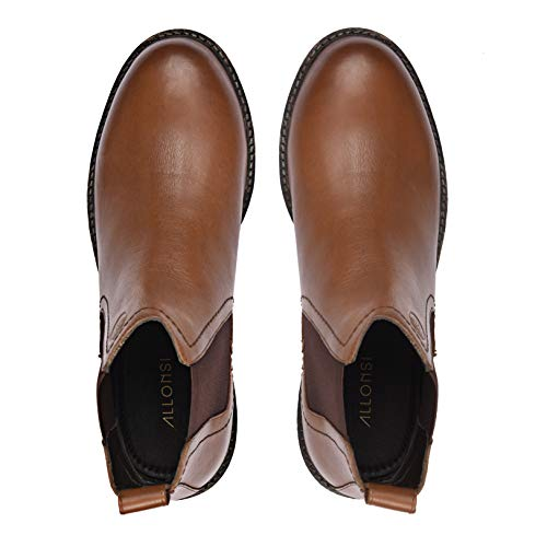 Allonsi Blaize | Genuine Leather Rugged Chelsea Boot | Handcrafted Ankle Dress Boots | Slip-on Comfort Winter Boot| TPR Sole | Designed for Wide Foot | Tan | US 11