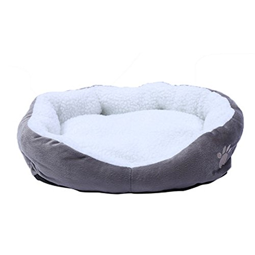 NiceButy Abnehmbarer Hunde Keller rund oder oval Bett für Haustiere Katze Bett Form einfach Fleece Brutplatz für Hund Katze Tiere de Petite Größe Grau S