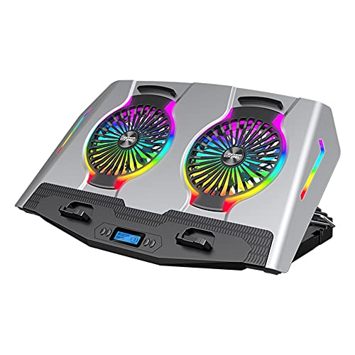 Nrpfell RGB Laptop Cooler 11-21 Inch Dual Fan with LCD Display Gaming Laptop Cooling Pad Laptop Stand with 2 USB Ports(Silver)