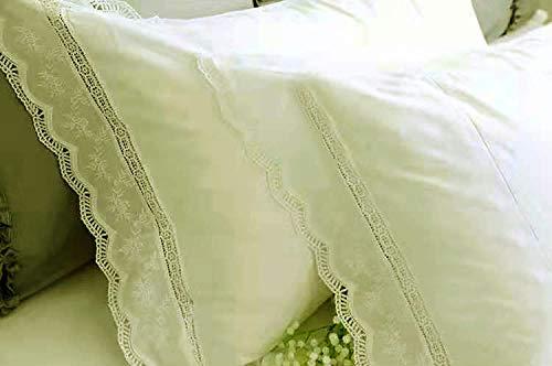 Meaning4 2fundas de almohada decorativas, lujosas y elegantes, con bordado de encaje, confeccionadas en algodón, de color blanco y con un tamaño de 50x75cm