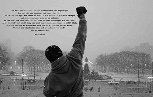 time4art Rocky Balboa Bild MIT Zitat Boxen Sport Schwarz und Weiß Print Canvas Bild auf Keilrahmen Leinwand Giclee