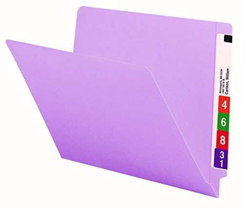 Smead End Tab File Folder, Shelf-Master Reinforced Straight-Cut Tab, Letter Size, Lavender, 100 per Box (25410)