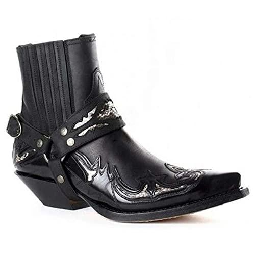 LLDG Herren Western Cowboy Motorrad Stiefeletten mode Reiterstiefel Spitze Kurzschaft Boots Vintage Combat boots Motorradstiefel Biker Boots Modische Ankle Boots mit Blockabsat