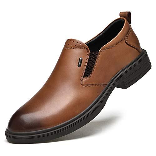 Zapatos casuales Zapatos de cuero para hombres, vestido de novia casual transpirable de cuero y color sólido, banda elástica de tacón bajo formal y punta puntiaguda con grifo