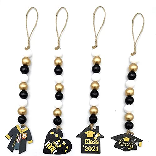 Timagebreze Graduation Wood Beads Garland with Wooden Sign, Wood Bead Hanging Decoration Rustic Country Hanging Decorations