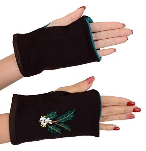 〔サンダイ〕 可愛い 花刺繍 ウール 日本製 ミテーヌ 指なし 手袋 ポインセチア ヒイラギ タンポポ スミレ (ヒイラギ(ブラウン×グリーン))