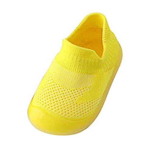 AIni Baby Schuhe 2019 Neuer Beiläufiges Mode Mädchen Jungen Reine Farbe Nettes Kleinkind Kleinkind Kleine Gestrickte Atmungsaktive Schuhe Lauflernschuhe Krabbelschuhe Kleinkinder Schuhe (20/21,Gelb)