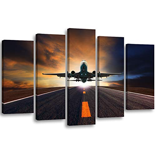 Feeby. Leinwandbild - 5 Teile - Bilder, Wand Bild, Wandbilder, Kunstdruck XXL, 5-Teilig, Typ A, 100x70 cm, Flugzeug, Transport, Himmel, STRAßE