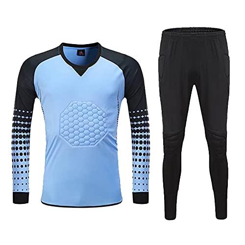 YSPORT Fußball Torwart Uniform Antikollisions Trainingsanzug Sets Lange Ärmel Sportbekleidung Anzug (Color : Light Blue, Size : 3XL)