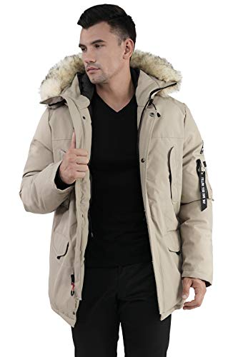 Molemsx Men's Parka Jacket Alternative Down Parka with Hood, Insulated Expedition Mountain Thicken Lined Fur Hooded Long Anorak Parka Padded Winter Warm Coat for Cold Weather Beige