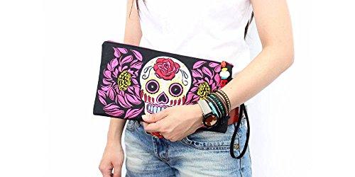 Rastalife Damen Retro Clutch, Handtasche, 100% Baumwolle und Skull Motiv Cabas de Fitness, 20 cm, 1 liters, Turquoise (Türkis)