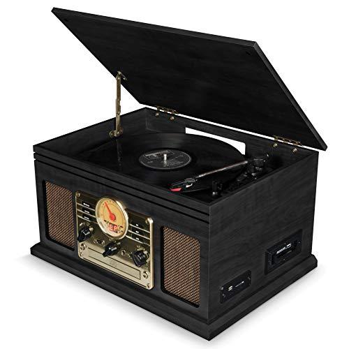 Schallplattenspieler Bluetooth mit Lautsprecher, Retro Plattenspieler Nostalgie mit FM-Radio/CD-Player/Kassettenspieler/MP3 USB/SD-Card, MP3-Aufnahmefunktion