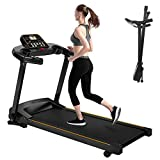 2HP Folding Electric Treadmill Fitness Motorized Running Machine w/Incline 15.75'' Wide 12 Preset Program LCD Display and Cup Holder Max Speed 7.5MPH for Home Gym Cardio Workout Jogging Training
