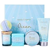 Spa Kit for Women - 5 Pcs Bath Set with Ocean Scent, Includes Scented Candle, Body Butter, Hand Cream, Bath Bar and Bath Bomb, Bath Body Gift Basket for Her, Gift Box for Women