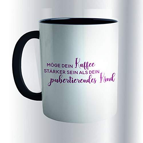 TippTopShop Tasse Muttertag mit Spruch MÖGE Dein Kaffee STÄRKER Sein ALS Dein PUBERTIERENDES Kind Weinrot Weiß Schwarz 300 ml Kaffeetasse