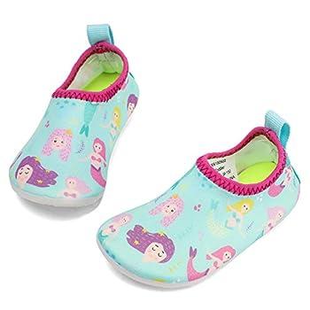 RANLY & SMILY Toddler Water Shoes Beach Walking Swim Pool Park Socks for Kids Girls Boys Walking Aqua Sky/Pink/Mermaid 7-8 M US Toddler